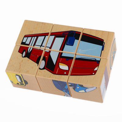 PILCH Skládačka – vozidla, 6 kostek