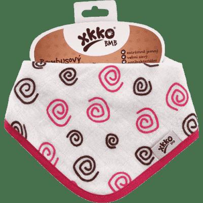 KIKKO Bambusový slintáček/šátek Spirals&Bubbles (1 ks) – magenta spirals