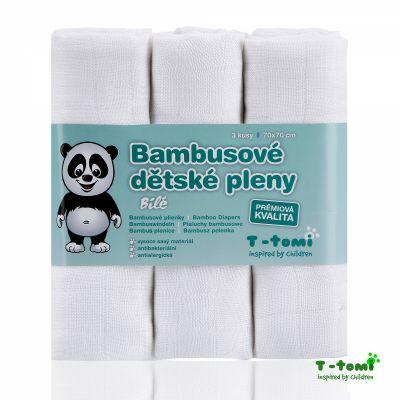 T-TOMI Pieluchy bambusowe 3 szt. – białe