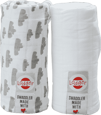 LODGER Multifunkčný osuška Swaddler balenie 2ks - Grey / White