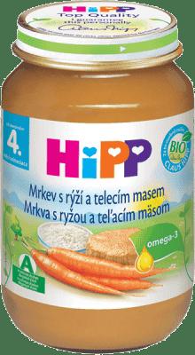 HIPP BIO Karotka s ryžou a teľacím mäsom 190g