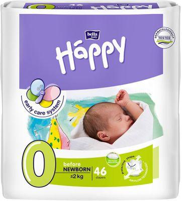 BELLA HAPPY Before Newborn 0 (do 2 kg) 46ks – jednorázové plienky