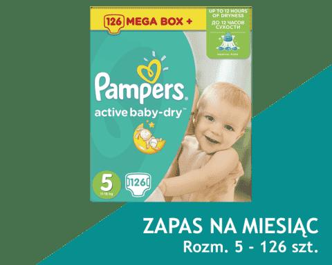 PAMPERS Active Baby 5 JUNIOR 126 szt. (11-18kg) MEGA Box PLUS, ZAPAS NA MIESIĄC - pieluszki