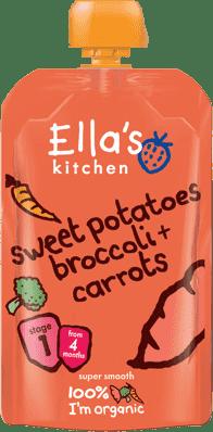 ELLA'S Kitchen Sladké zemiaky, brokolica a mrkva 120g