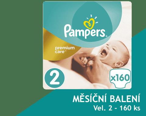 PAMPERS Premium Care 2 MINI 160 ks (3-6kg) MĚSÍČNÍ ZÁSOBA – jednorázové pleny