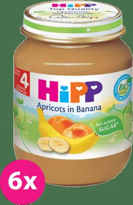 6x HIPP banánový s marhuľami (125 g) - ovocný príkrm
