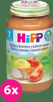 6x HIPP BIO zemiaky s paradajkami a kuraťom (220 g) - mäso-zeleninový príkrm
