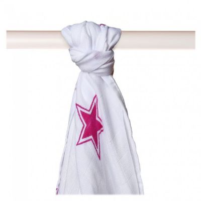 KIKKO Bambusowy ręcznik/pieluszka Stars 90x100 (1 szt.) – magenta