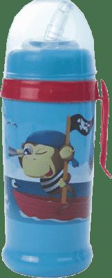 CANPOL Babies Fľaša športová s nevylévací slámkou- modrá piráti 350 ml