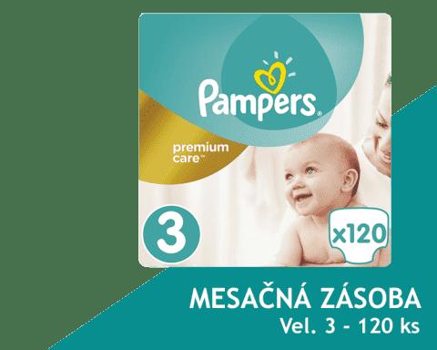 PAMPERS Premium Care 3 MIDI 120ks (5-9 kg) MEGA Box, MESAČNÁ ZÁSOBA - jednorazové plienky