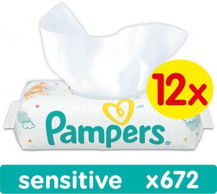 12x PAMPERS Sensitive 56 szt. - chusteczki nawilżane