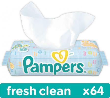 PAMPERS Fresh Clean S VIEČKOM 64 ks - vlhčené obrúsky