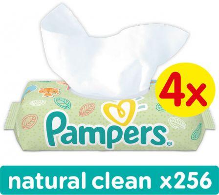 4x PAMPERS Natural Clean S VÍČKEM 64ks - vlhčené ubrousky