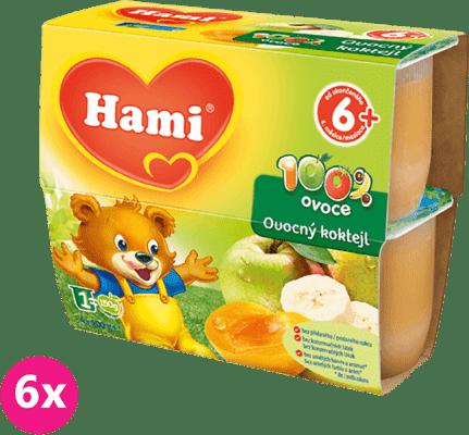 6x HAMI 100% ovocie ovocný koktejl 4x100g - ovocný príkrm