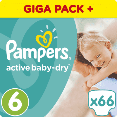 PAMPERS Active Baby 6 EXTRA LARGE 66ks (15+ kg) GIANT BOX PLUS - jednorazové plienky