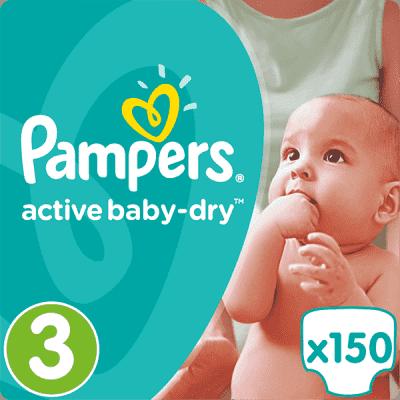 PAMPERS Active Baby 3 MIDI 150ks (4-9 kg) MEGA Box - jednorazové plienky