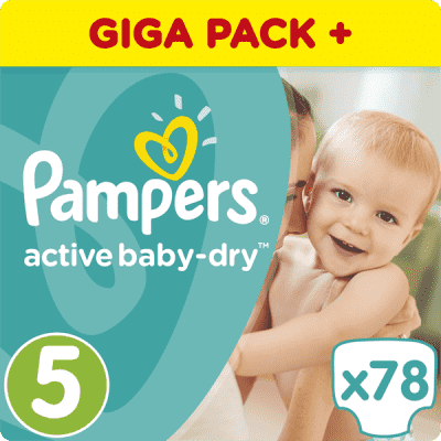PAMPERS Active Baby 5 JUNIOR 78ks (11-18 kg) GIANT BOX PLUS - jednorazové plienky