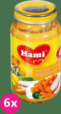6x HAMI jarní zelenina s krůtou (200 g) - maso-zeleninový příkrm