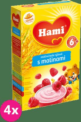 4x HAMI mliečna kaša ryžová s malinami 225 g