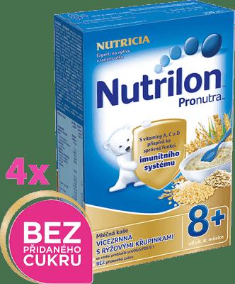 4x NUTRILON ProNutra mliečna kaša viaczrnná s ryžovými chrumkami 225g