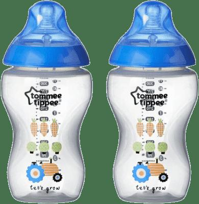 TOMMEE TIPPEE Dojčenská fľaša s obrázkami C2N, 2ks, 340ml, 3 + m-modrá