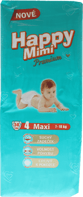 HAPPY MIMI detské plienky Premium Maxi 50 ks