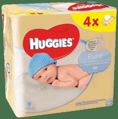 4x HUGGIES® Quatro Pack Pure 56 ks - vlhčené ubrousky