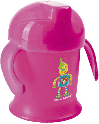 CANPOL Babies Nevylévací hrnček Smiley - ružový 200 ml