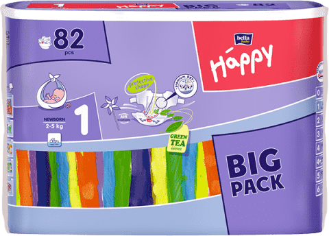 BELLA HAPPY Newborn (2-5 kg) Big Pack 82ks - jednorázové pleny