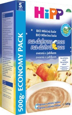 HIPP BIO mliečnoobilninová kaša na dobrú noc jablková s ovsenými vločkami 500g