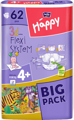 BELLA HAPPY Maxi Plus (9-20 kg) Big Pack 62ks - jednorázové pleny