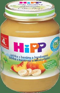 HIPP jablkový s banány a broskvemi (125 g) - ovocný příkrm