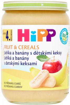 HIPP BIO Jablka a banány s dětskými keksy (190 g) - ovocný příkrm