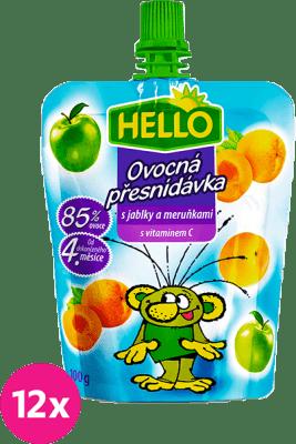 12x HELLO s jablky a meruňkami 100g - ovocný příkrm