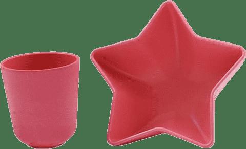 PACIFIC BABY Bamboo Miska – gwiazda + Kubek różowy