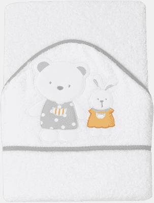INTERBABY osuška dětská froté 100X100 medvídek, králíček a domeček - bílá šedý lem