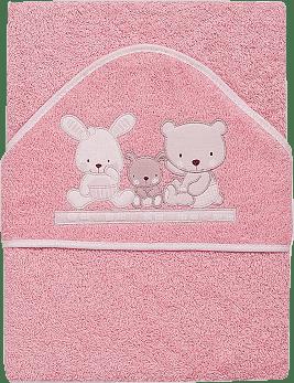 INTERBABY osuška dětská froté 100x100 love - růžová