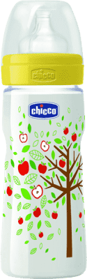 CHICCO Fľaša PP, 330ml, silikónový cumlík, 4+, jabloň, žltá