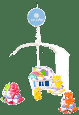SUN BABY Kolotoč nad postýlku s lampičkou ve tvaru domečku – Zvířátka