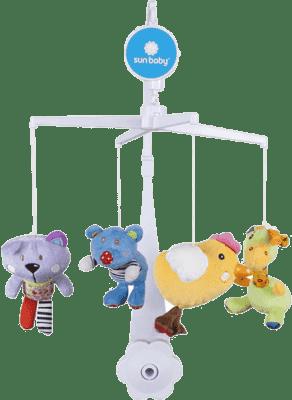 SUN BABY Kolotoč nad postieľku s plyšovými hračkami (medvedík, mačka, kuriatko, žirafa)