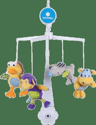 SUN BABY Kolotoč nad postýlku s plyšovými hračkami (ptáček, myš, opička, tygr)