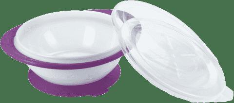 NUK EL Dětská miska se 2 víčky a přísavkou – fialová