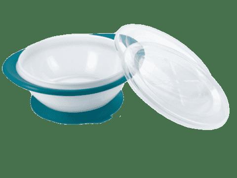 NUK EL Detská miska s 2 viečkami a prísavkou – modrá