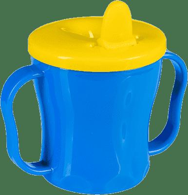 BABY ONO Hrnek netekoucí se sklápěcím náustkem modro - žlutá