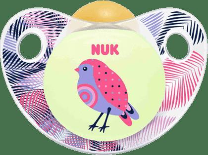 NUK Cumlík Trendline DEŇ a NOC, latexový, V2 (6-18m.) - ružový vtáčik
