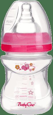 BABY ONO Dojčenská antikoliková fľaša, široké hrdlo, 120 ml, ružová