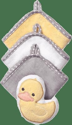 BABY ONO Souprava 3 mycích utěrek s houbičkou – Kachna