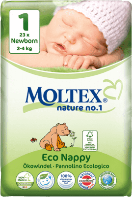 MOLTEX Nature no. 1 Newborn, 23 ks (2 - 4 kg) – jednorázové plienky