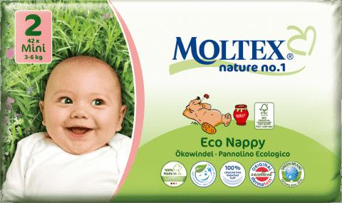 MOLTEX Nature no. 1 Mini, 42 ks (3 - 6 kg) – jednorázové pleny