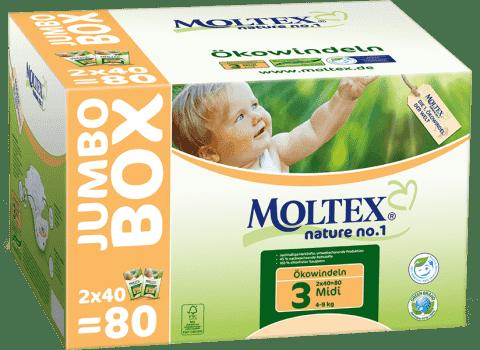 MOLTEX Nature no. 1 Midi, 80 szt (4 - 9 kg) - JUMBO BOX – pieluchy jednorazowe